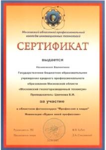 Сертификат Ненилина Валентина